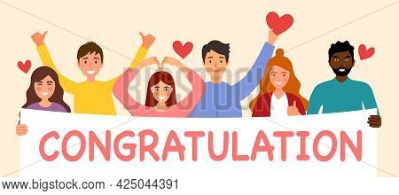 People Holding A Congratulation Sign For Surprise Party. Celebrating Event.