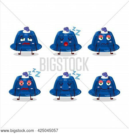 Cartoon Character Of Blueberry Pudding With Sleepy Expression