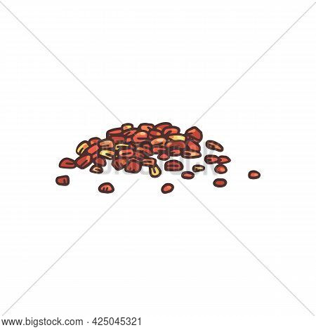 Heap Of Chili Pepper Powder Hand Drawn Engraving Vector Illustration Isolated.