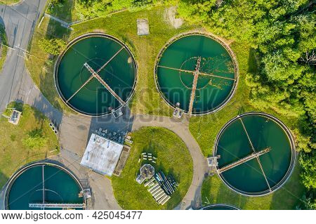 Panoramic Aerial View On Sewage Treatment Facilities Aeration Water Purification Tanks For Modern Wa