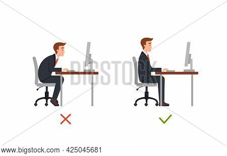 Right And Wrong Sit Position In Office Chair, Flat Vector Illustration Isolated.