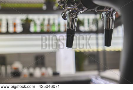 Draft Beer Dispensers Inside The Pub, Selective Focus