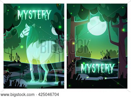 Mystery Or Horror Cartoon Posters, Horse Soul In Night Forest Under Full Moon, Mystical Equine With