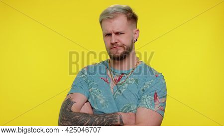 Dissatisfied Trendy Stylish Guy 30s Years Old Asking Reason Of Failure, Expressing Disbelief Irritat