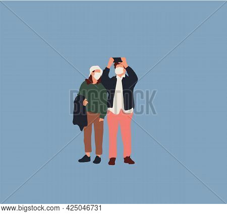 Couple Are Take Selfie. Man And Woman Are Photographed Together. Happy Photographer Character Vacati