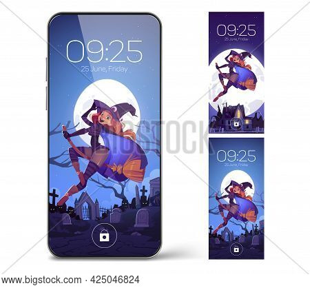 Smartphone Lock Screen With Witch Flying On Broom. Mobile Phone Onboard Page With Date And Time, Dig