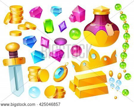 Treasure, Magic Items Golden Coins, Crystal Gems, Crown, Sword And Gold Bar With Potion Bottle, Prec