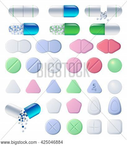 Pills, Tablets And Medicine Drugs, Colorful Capsules With Granulated Filler. Oval And Round Medicame