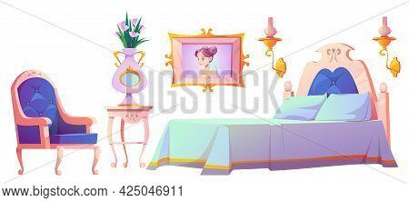 Princess Bedroom Furniture Set, Interior Elements For Vintage Room. Elegant Retro Bed, Cupboard, Vel