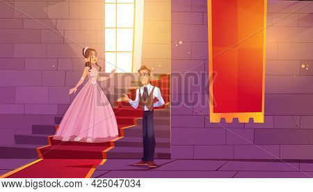 Prince Invite Princess For Dance In Castle Hall. Royal Couple In Palace Hallway With Stone Walls, La