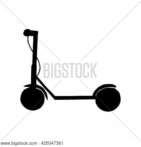 Electric Scooter Icon. Hand Drawn Doodle. Vector, Scandinavian, Nordic Minimalism Monochrome Transpo