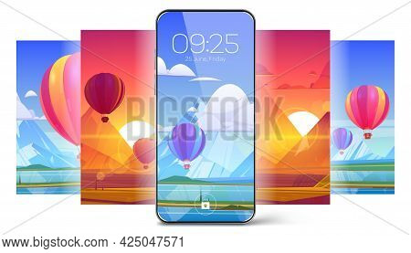 Smartphone Lock Screen With Hot Air Balloon On Landscape Background. Mobile Phone Onboard Page With