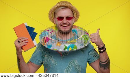 Young Man Summer Vacation, Journey, Trip To Seaside. Traveler Tourist Bearded Adult Boy Celebrating,