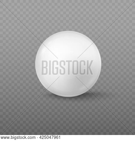 White Glass Round Bead Made Of Glass Or Acrylic Realistic Vector Illustration.