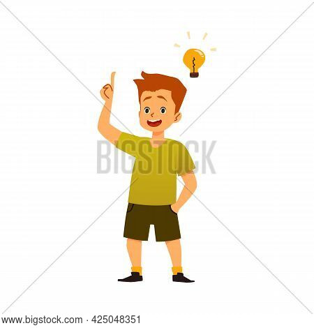 Delighted Cheerful Boy Having Solution, Flat Vector Illustration Isolated