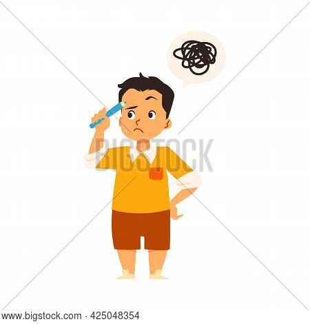 Anxiety Kid Boy With Confused Thinking Tries Solve Problem A Vector Illustration