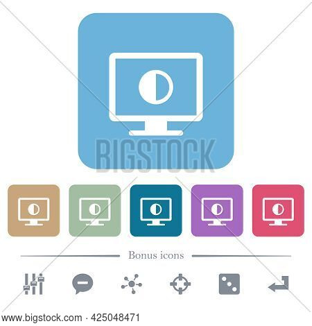 Adjust Screen Contrast White Flat Icons On Color Rounded Square Backgrounds. 6 Bonus Icons Included