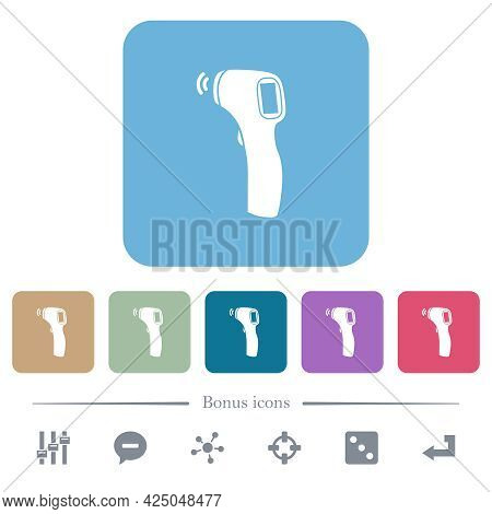 Contactless Thermometer White Flat Icons On Color Rounded Square Backgrounds. 6 Bonus Icons Included
