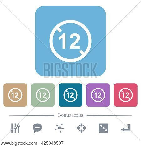 Not Allowed Under 12 White Flat Icons On Color Rounded Square Backgrounds. 6 Bonus Icons Included