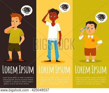 Banners With Pensive Children Thinking And Deciding Task, Vector Illustration.