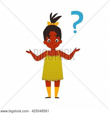 Puzzled Child Has Question Or Unsolved Problem Flat Vector Illustration Isolated.