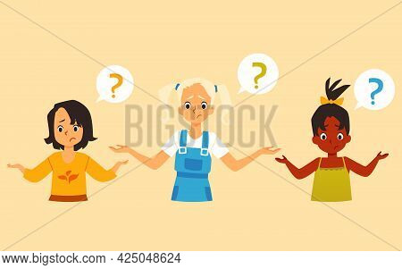 Confused Doubting Girls Having Questions, Flat Vector Illustration Isolated.