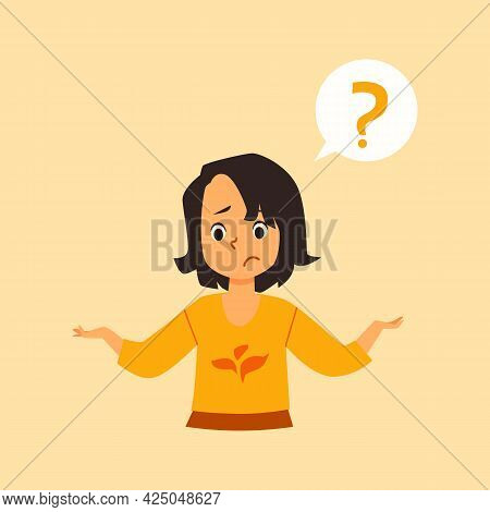 Puzzled Little Child Girl Asks Question, Flat Vector Illustration Isolated.