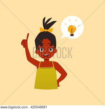 Clever African American Girl Having Good Idea Flat Vector Illustration Isolated.