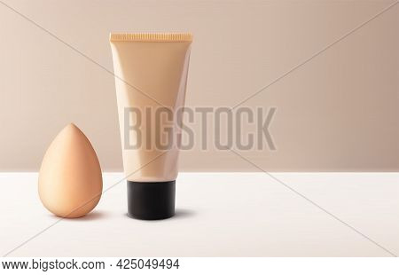 Mockup Tonal Cc Or Bb Cream Foundation Makeup And Beauty Blender For Makeup Foundation 3d Vector Rea