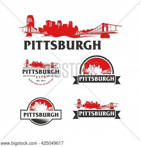 Pittsburgh Usa Skyline Logo. Pittsburgh Cityscape And Landmarks Silhouette Vector Illustration