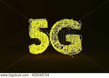 Yellow Digital Inscription 5g Close-up On The Black Background. 5g New Generation Of Mobile Communic