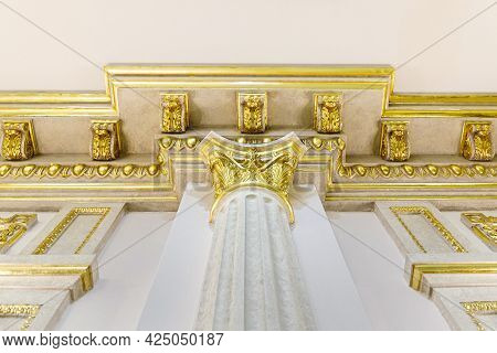 Baroque Style Column With Capital Decorative Gold Stucco On The Ceiling Fillet In Luxurious Expensiv