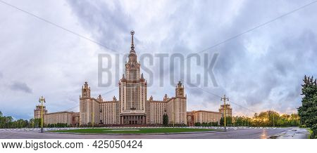 Moscow, Russia - May, 05, 2021: The Main Building Of Lomonosov Moscow State University In Moscow, Ru