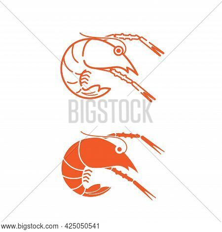 Orange  Flat And Outline Prawn Icon And Logo.