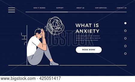 Anxiety Homepage Template. Young Man In A State Of Depression Feels Anxiety. Psychological Diseases,