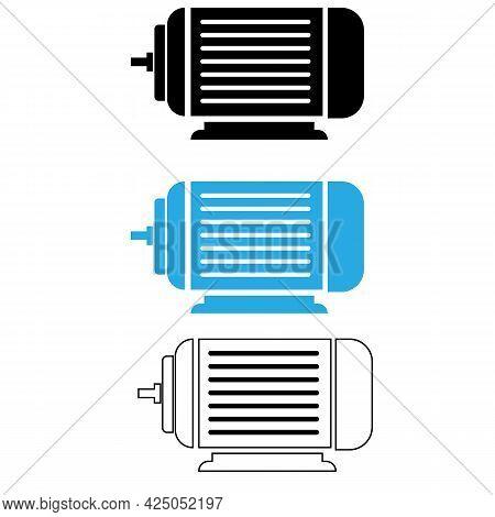 Electric Motor Icon On White Background. Motor Sign. Electric Motor Outline Symbol. Blue Electric Mo