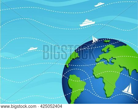 Banner Tourist Travel Around The Globe. International Cargo Transportation. Travel Ship Around The W