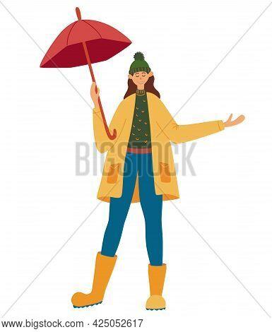 Girl With An Umbrella Enjoys The Rain. Autumn Rain. Smiling Girl With Umbrella. Colorful Woman Enjoy
