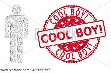Cool Boy Exclamation Grunge Stamp Seal And Vector Person Mesh Model. Red Stamp Seal Has Cool Boy Exc