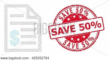 Save 50 Percent Rubber Seal Imitation And Vector Price List Mesh Model. Red Stamp Seal Has Save 50 P