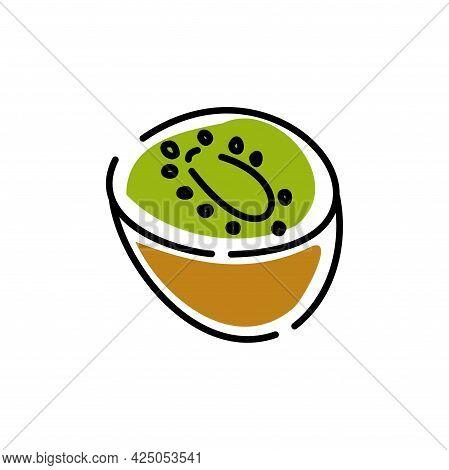 Half A Kiwi On A White Background. Juicy Kiwi Fruit. Icon. Vector Illustration.