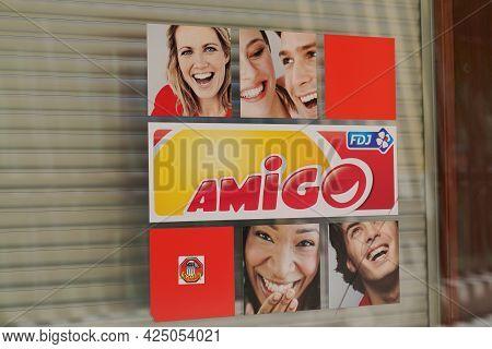 Sète , Ocitanie France  - 06 25 2021 : Fdj Amigo Logo Brand And Sign Text Of France National Lottery