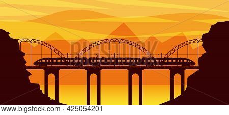 Train And Landscape With Mountain In Silhouette. Super Streamlined Train Passenger Express Railway L