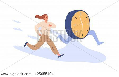 Concept Of Deadline And Time Pressure. Busy Person And Clocks Running. Office Worker Trying To Keep