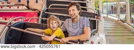 Happy Smiling Son And His Handsome Father Spending Fun Time Together At Amusement Park Banner, Long