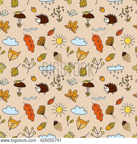 Seamless Pattern With Forest Animals, Mushrooms, Autumn Leaves And Berries In Doodle Style. Cartoon