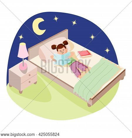 Little Cute Girl Reading A Fairy Tale Before Dreams In Her Bed. Night Book Reading Concept. Cartoon