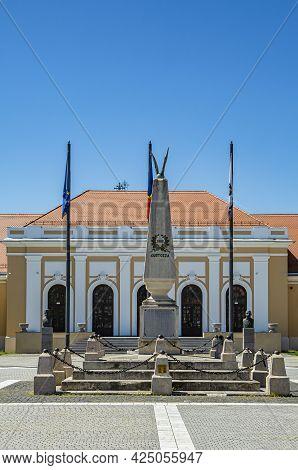 Alba Iulia, Alba, Romania -  May 11, 2021: Monument Inside The Alba Carolina Citadel, Alba Iulia, Tr