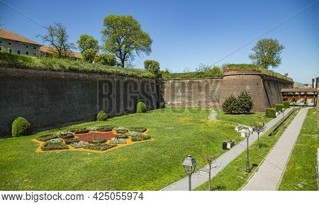  Alba Iulia, Alba, Romania -  May 11, 2021: The Fortification Wall Of The \n Alba Carolina Citadel