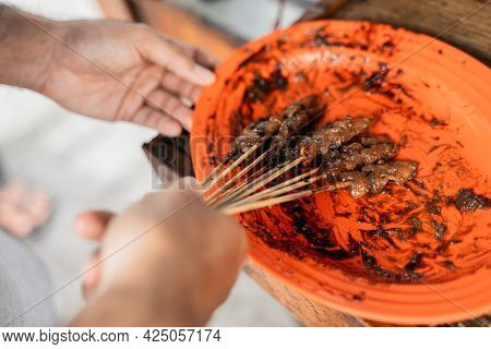 Sate Ayam Traditional Culinary Of Chiken Satay Skewer